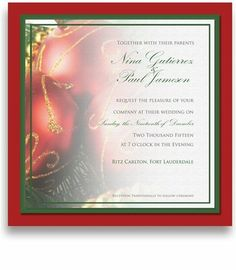 130 Square Wedding Invitations - Christmas Ornaments by WeddingPaperMasters.com. $340.60. Now you can have it all! We have created, at incredible prices & outstanding quality, more than 300 gorgeous collections consisting of over 6000 beautiful pieces that are perfectly coordinated together to capture your vision without compromise. No more mixing and matching or having to compromise your look. We can provide you with one piece or an entire collection in a one sto...