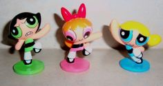 LOT OF 3 POWERPUFF GIRLS PVC CAKE TOPPER TOYS CARTOON NETWORK POWER PUFF
