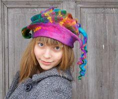 Unique fancy felted hat with long dreadlocks colorful. Wool Yarn, Wool Felt, Nuno Felting, Felt Hat, Winter Accessories, Hat Making, Sell On Etsy, Etsy Handmade, Lana