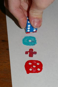 Dice stamping... a fun way to make math sentences.