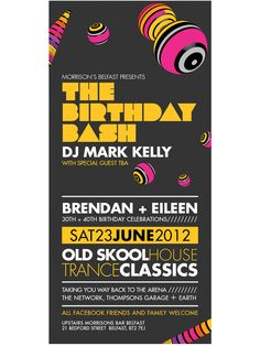 Birthday Bash Flyer - Typographic event flyer Flyer by Gary Corr, via Behance Birthday Flyer, Birthday Bash, Invitation Flyer, Invitations, Cool Posters, Special Guest, Graphic Design Inspiration, Flyer Design, Flyers