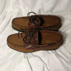 5eea9d6a644d0 St Johns Bay Mens Basin Boat Leather lace up sizes 10 NICE!