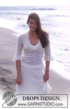 DROPS Short jacket with crochet cuffs in Cotton Viscose and Vivaldi and skirt in Vienna ~ DROPS Design