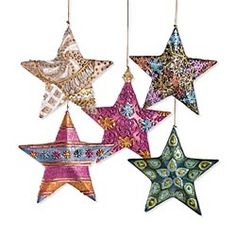 Set of Uniquely Designed Star Ornaments in Holiday 2012 from Uno Alla Volta on shop.CatalogSpree.com, my personal digital mall.