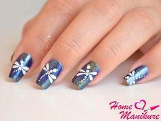 красивый дизайн ногтей со стрекозами