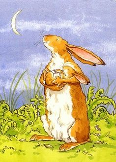 By illustrator Anita Jeram from the children's book 'Guess how much I love you' by Sam McBratney Bunny Art, Cute Bunny, Art And Illustration, Book Illustrations, Anita Jeram, Rabbit Art, Dibujos Cute, Jolie Photo, Illustrators