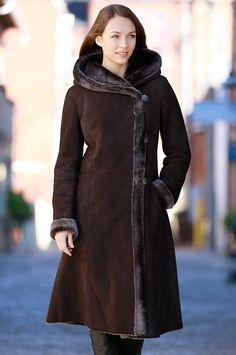 Women's Nanette Spanish Merino Shearling Sheepskin Coat by Overland Sheepskin Co. (style 13916)