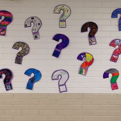 Mystery theme reading night-question marks with students' favorite books on them.