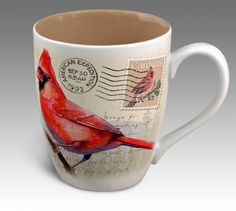 Northern Cardinal Vintage Series 14oz Stoneware Coffee Mug - American Expedition