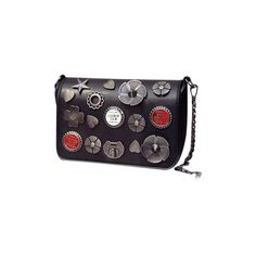 Black Badges Detail Flap Cross Body Bag (1,595 INR) ❤ liked on Polyvore featuring bags, handbags, shoulder bags, crossbody shoulder bag, flap shoulder bag, flap purse, flap crossbody and cross body