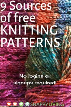 Finding free knitting patterns online can be a hassle, but I've found these 8 websites that offer really good free knitting patterns, with no logins or signups required. Just go get yer free patterns.