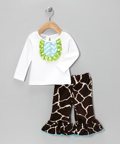White Giraffe Disco Top & Pants - Infant & Toddler by Mud Pie on #zulily