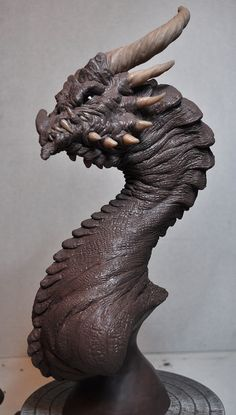 """Corruptor Dragon Bust Sculpt Pic 2 12"""" tall bust sculpted in Monster Clay and Sculpey for the horns."""