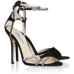 Jimmy Choo Morgan crystal-embellished suede sandals (9 060 UAH) ❤ liked on Polyvore featuring shoes, sandals, heels, pumps, high heels, ankle wrap sandals, black shoes, black heeled sandals, black high heel shoes and jimmy choo shoes