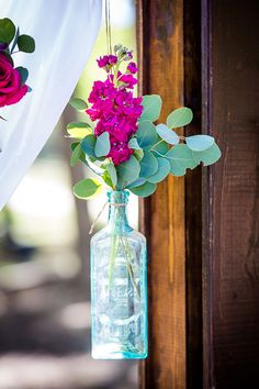 Vibrant jewel tone spirit of equestrian wedding featuring a floating dual door ceremony backdrop and stable reception with horse figurine escort cards. Medicine Bottle Crafts, Medicine Bottles, Chapel Wedding, Red Wedding, Chapel In The Woods, Ceremony Backdrop, Sweetheart Table, Bud Vases, Jewel Tones