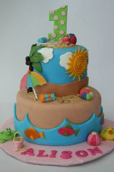 Beach Cake - MMF and gumpaste decorations
