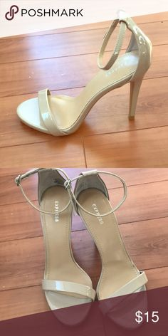 Nude Strappy Sandals Nude faux patent leather strappy sandals. Worn once for a few hours. So versatile they can be worn to a wedding or work or out to drinks. Express Shoes Heels