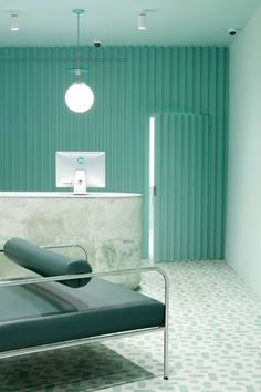Medly Pharmacy design by Sergio Mannino complete with industrial corrugated perforated statement wall Commercial Interior Design, Commercial Interiors, Contemporary Interior Design, Home Interior Design, Luxury Interior, Turquoise Room, Design Minimalista, Small Room Design, Design Room