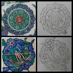 No photo description available. Pattern Drawing, Pattern Art, Islamic Art Pattern, Turkish Tiles, Clay Tiles, Foil Art, Arabesque, Ceramic Art, Art Drawings