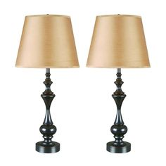 Kenroy Home Lighting Table Lamp Set with Taupe Shade in Oil Rubbed Bronze Finish | 32200ORB | Destination Lighting