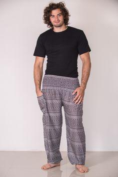 Aztec Stripes Men's Harem Pants in Gray