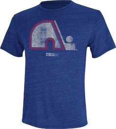 Quebec Nordiques CCM Retro Logo T-Shirt-Blue by Reebok. $25.95. This tri-blend premium metro fit t-shirt by CCM Reebok features vintage distressed official team graphics. This shirt is made of 50% polyester/37.5% cotton/12.5% rayon. Officially licensed by the NHL.