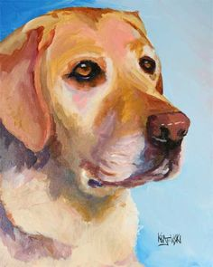 Dog Mom, Yellow Lab Portrait Art Print of Original Acrylic Painting, Labrador Retriever Gifts, Memor