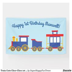 This cute train birthday party theme is perfect for a one year old! Great for a birthday party kid that loves choo-choo's! 1st Birthday Party Themes, Trains Birthday Party, Birthday Supplies, Birthday Signs, Happy 1st Birthdays, Party Time, Banner, Theme Ideas, Kids
