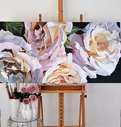 'Julia' - roses from my garden. A panel measuring 61 x 123cm. Original Paining by Jenny Fusca