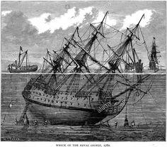 PALOMBARI DEL XVIII SECOLO Tentativo di recupero della HMS Royal George (navi di linea di primo rango da 100 cannoni), affondata il 29 agosto 1782 nelle rada di Spithead durante una mal riuscita operazione di carenaggio Salvage attempt of HMS Royal George (100-gun first rate ship of the line) sunk at Spithead (29 August 1782) N.B. La nave è rappresentata in modo impreciso, ha l'aspetto di un tre ponti del tardi Seicento. Probabilmente il disegnatore, non conoscendo l'unità, ha tratto…
