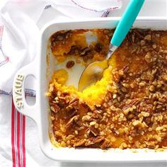 Butternut Squash Bake Recipe- Recipes  If I ask our two girls (ages 7 and 14) what to fix for a special meal, this dish is always requested. I discovered this slightly sweet and crunchy-topped casserole at a church dinner about 10 years ago, and now I take it to potluck dinners and come home with an empty dish! -Julie Jahn, Decatur, Indiana