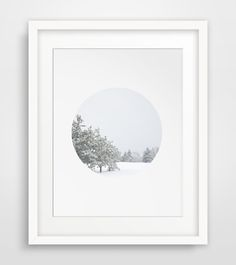 Winter Art Snow Photography White Circle by MelindaWoodDesigns #WinterArt #Snowprints