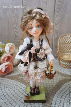 Купить Полина. Текстильная подвижная кукла. Бохо - бежевый, авторская кукла, коллекционная кукла