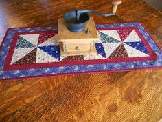 Country Colors Quilted Table Runner/ Scrap Quilt Pinwheel Pattern by RubysQuiltShop on Etsy