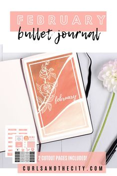 This February bullet journal cover was created using acrylic paint in shades ranging from pink to peach, and white ink. The instant download includes a blank print, a February print, and two full size pages of cutouts to help set up your spread. Bullet Journal Month Cover, February Bullet Journal, Bullet Journal Hacks, Bullet Journal Spread, White Gel Pen, White Ink, Journal News, Using Acrylic Paint, Journal Covers