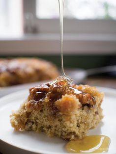A sweet, gooey layer of honey and pecans tops off a warm buttermilk and oatmeal cake to make this coffee cake one to remember.