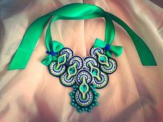 Bash-arT / Zelená v tvojich očiach/ green soutache necklace