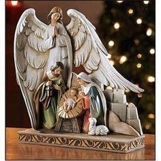 "Avalon Nativity Figurine with Angel Stone 8"""