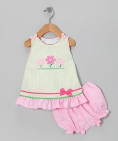 Kandyland Green & Pink Flower Ruffle Jumper & Bloomers - Infant | zulily