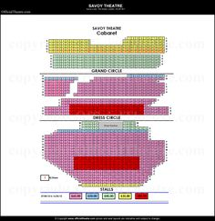 Savoy Theatre seating plan and price guide.