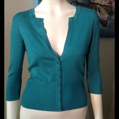 Teal cardigan Gently used White House black market cardigan. White House Black Market Sweaters Cardigans