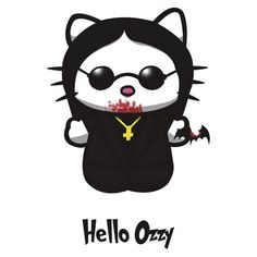Hello Ozzy by Andrew Mark Hunter (yayzus) Hello Kitty Costume, Hello Kitty Halloween, Hello Kitty Art, Hello Kitty Tattoos, Hello Kitty Pictures, Kitty Images, Hello Kitty Characters, Sanrio Characters, Bad Cats