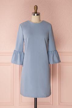Ghie Blue #boutique1861 #dress #ruffles #blue #babyblue #bellsleeves #cocktaildress