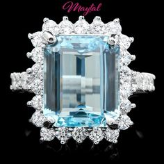 $9400 CERTIFIED 14K WHITE GOLD 6.00CT AQUAMARINE 1.00CT DIAMOND RING #Cocktail