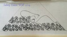 Blackwork Embroidered Forehead Cloth - WIP5, by Sidney Eileen