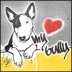 Street Art Style Bullterrier Bully Minibully Monokel