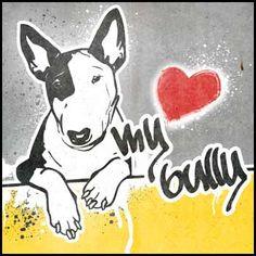 Street Art Style Bullterrier Bully Minibully Monokel