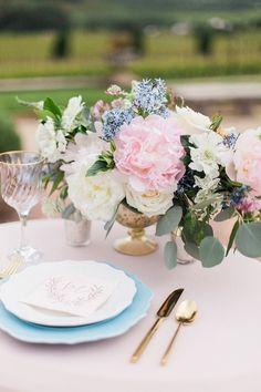 Pastel Spring Centerpiece with Lush Pink Peonies | Stephanie Marie Photo | http://heyweddinglady.com/blushing-bridal-beauty-shoot-rose-quartz-serenity/