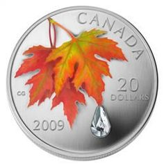 $20 2009 Fine Silver Coin - Autumn Showers Crystal   Royal Canadian Mint Coins