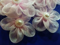 Lovely pink organza flowers pearl center appliques for sewing wedding crafting, doll clothes